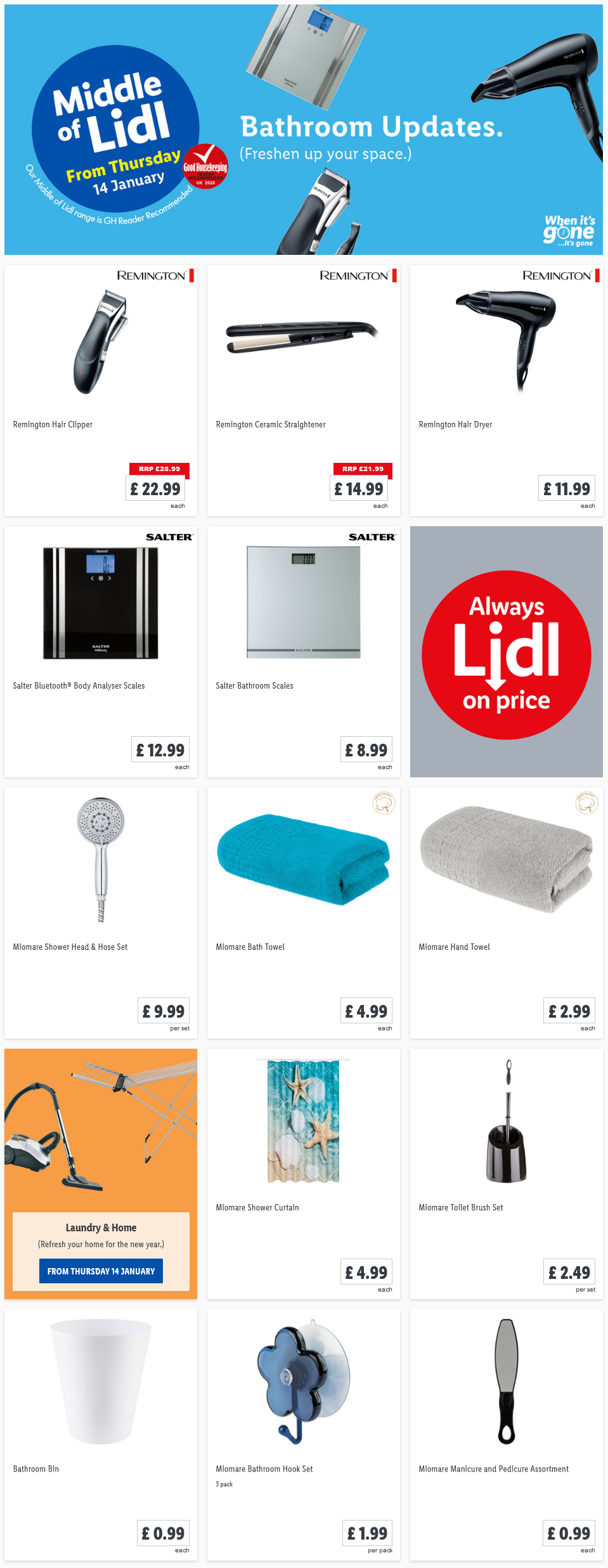 LiDL Bathroom Updates From 14th January 2021 LIDL Offers this Thursday