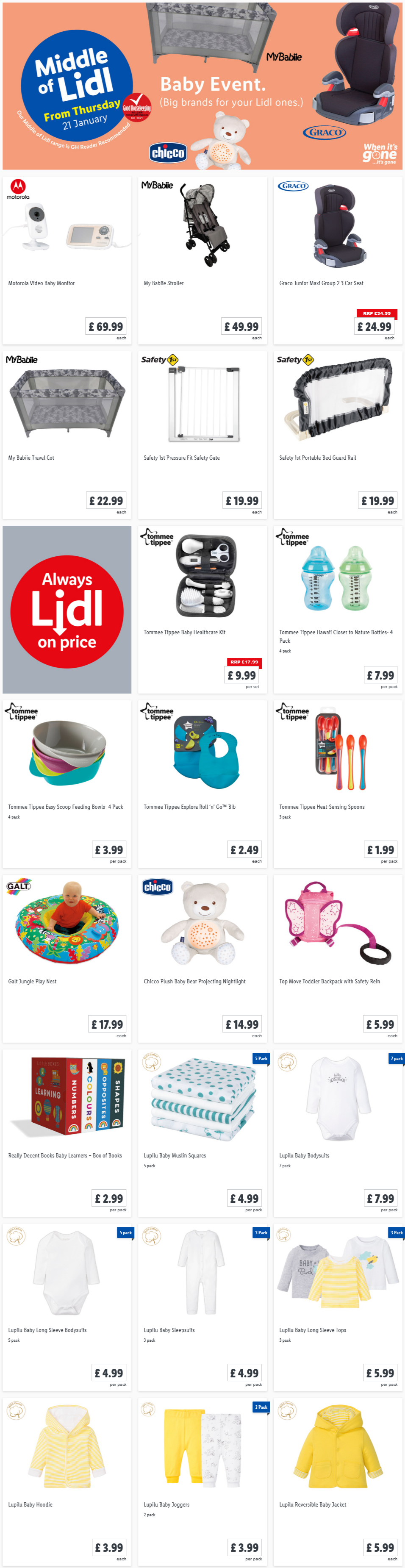 LiDL Baby Care From 21st January 2021 LIDL Offers this Thursday