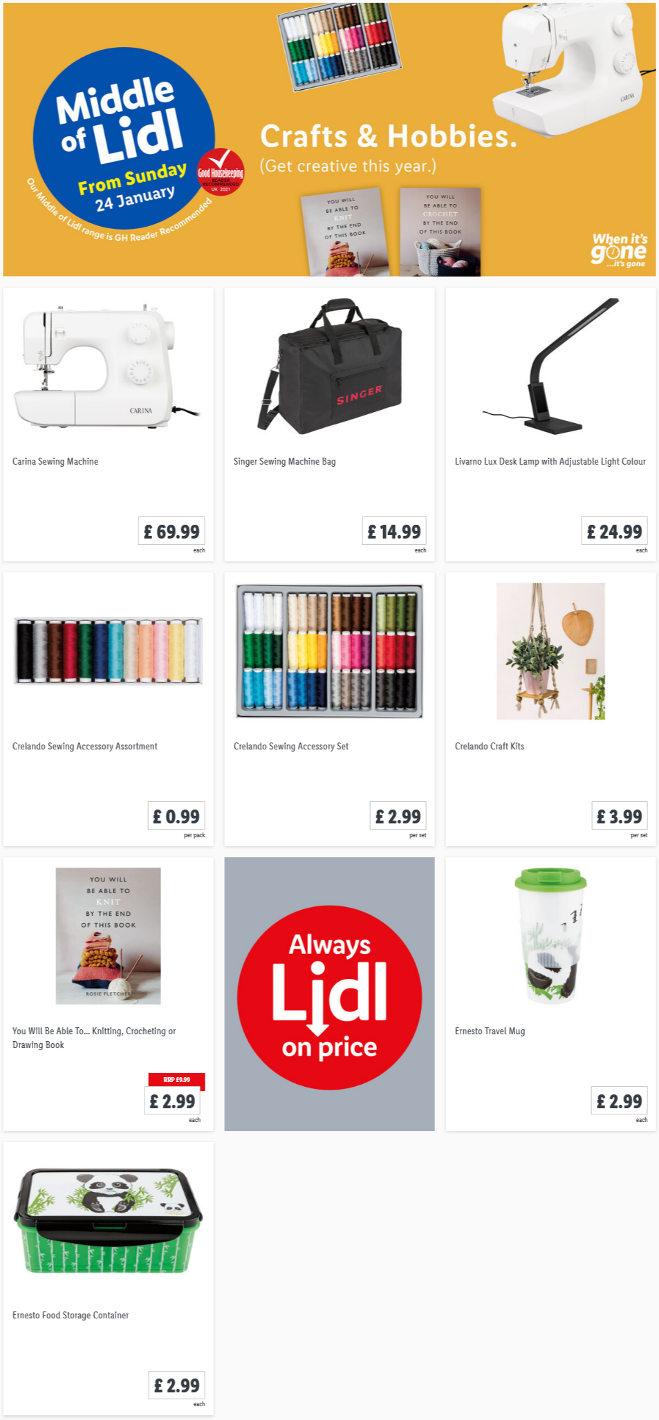 LiDL Crafts & Hobbies from 24th January 2021 LiDL Sunday Offers