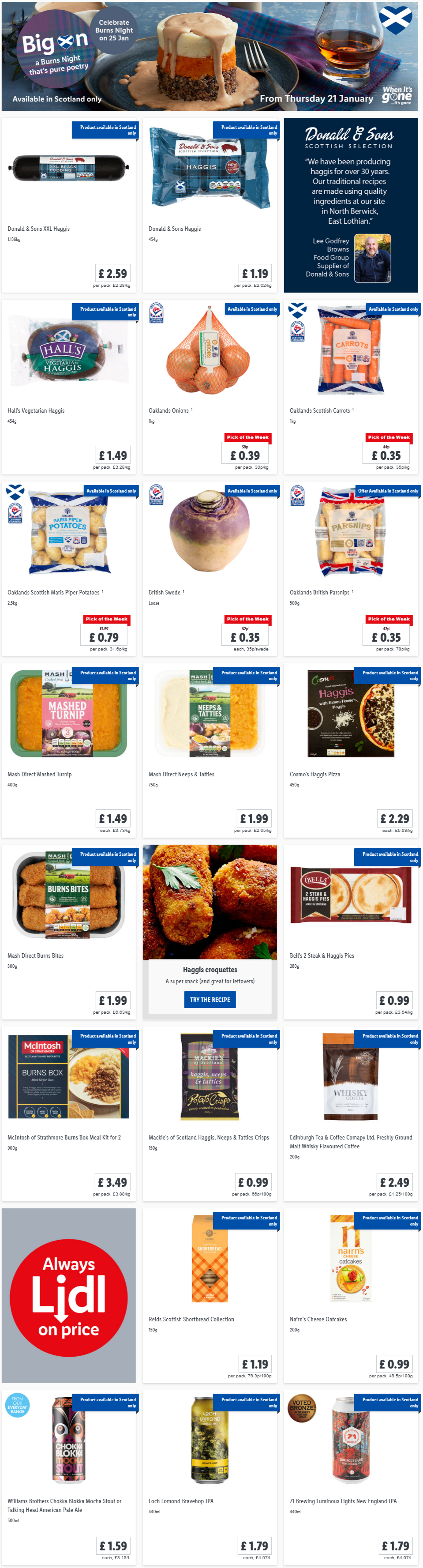 LiDL Burns Night From 21st January 2021 LIDL Offers this Thursday (Scotland Only)