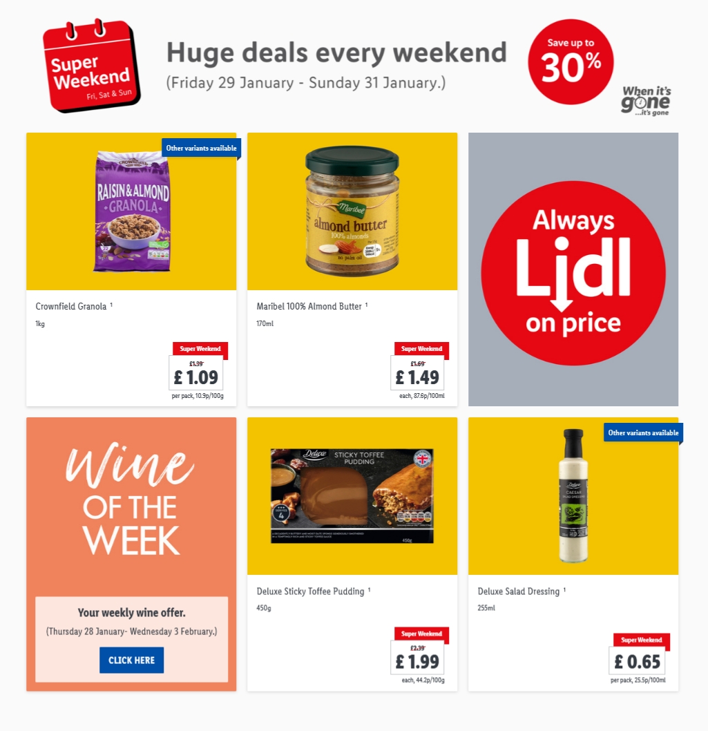 LiDL Weekend Offers 29th January – 31st January 2021 LiDL Super Weekend