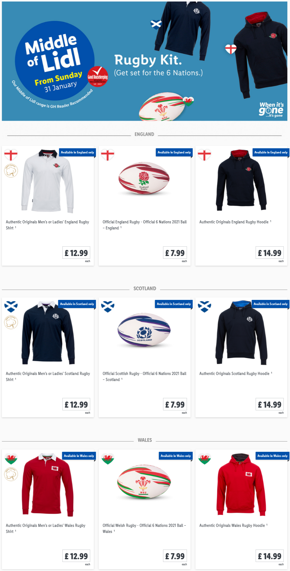 LiDL Rugby Kit from 31st January 2021 LiDL Sunday Offers