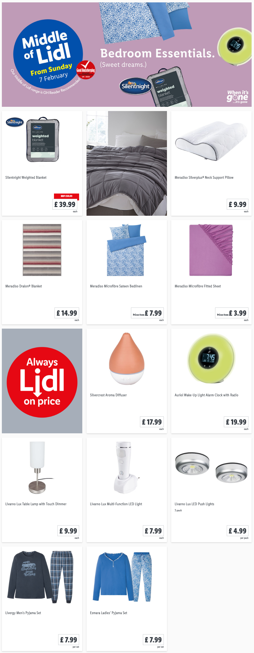 LiDL Bedroom Essentials from 7th February 2021 LiDL Sunday Offers