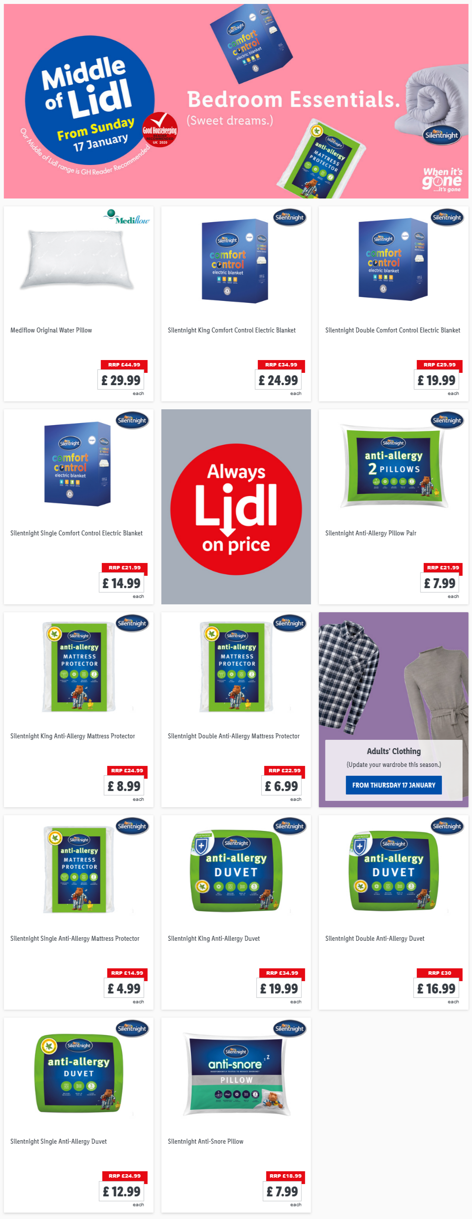 LiDL Bedroom Essentials from 17th January 2021 LiDL Sunday Offers