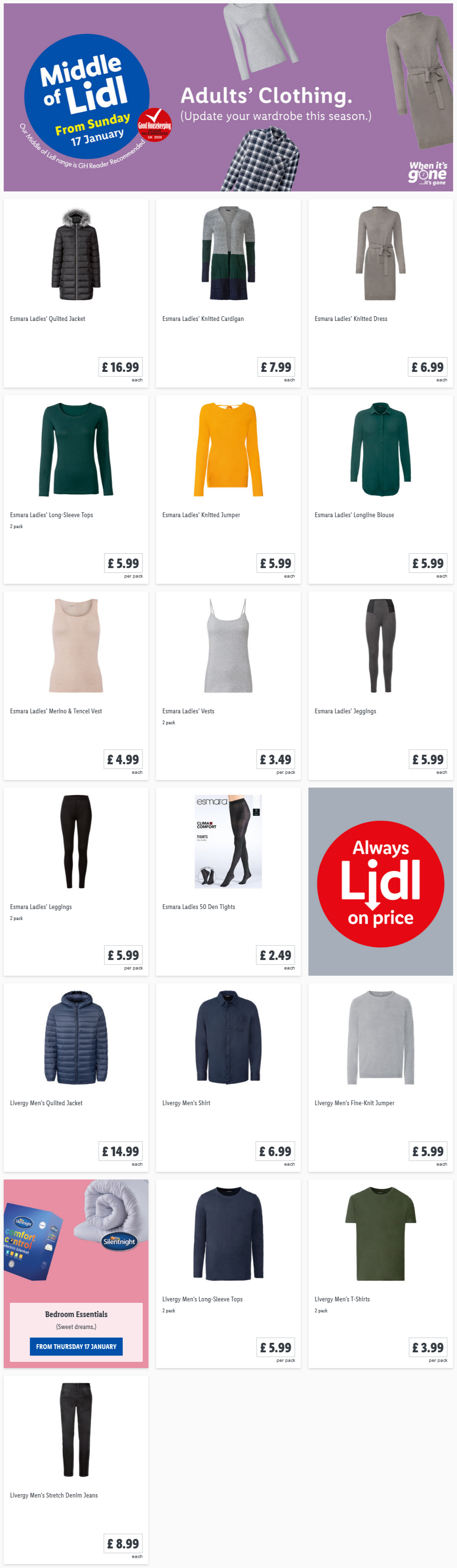 LiDL Adults Clothing from 17th January 2021 LiDL Sunday Offers