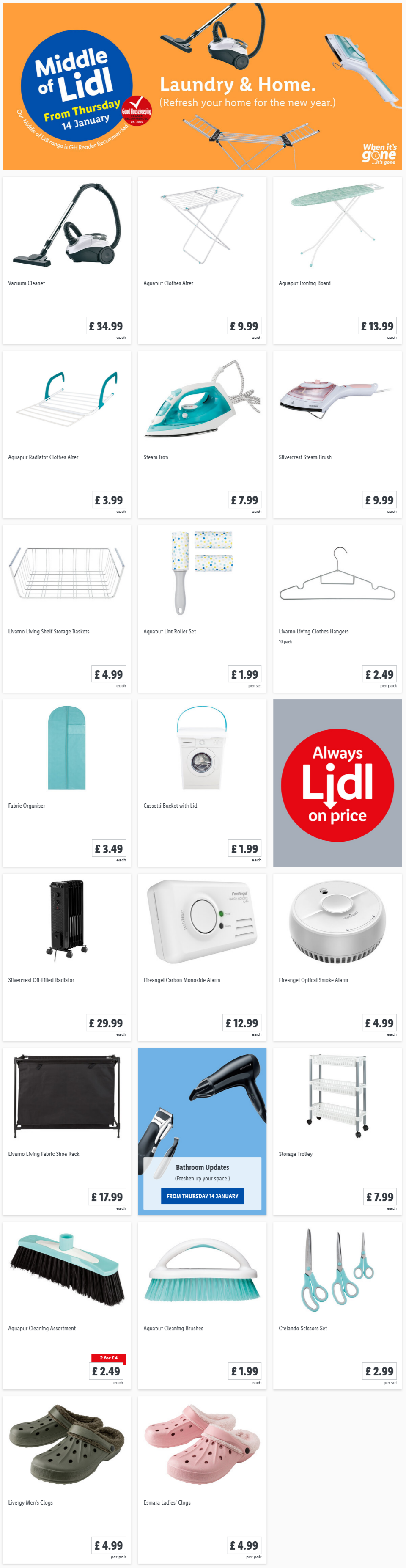 LiDL Laundry & Home From 14th January 2021 LIDL Offers this Thursday