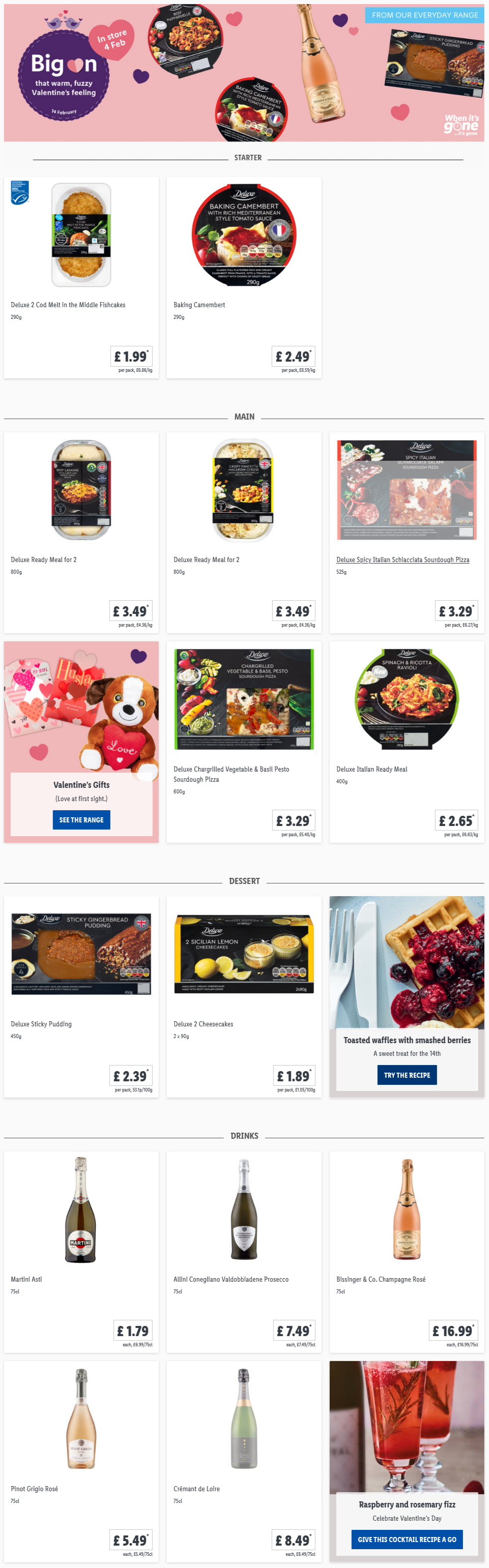 LiDL Valentine's Day Food From 4th February 2021 LIDL Offers this Thursday