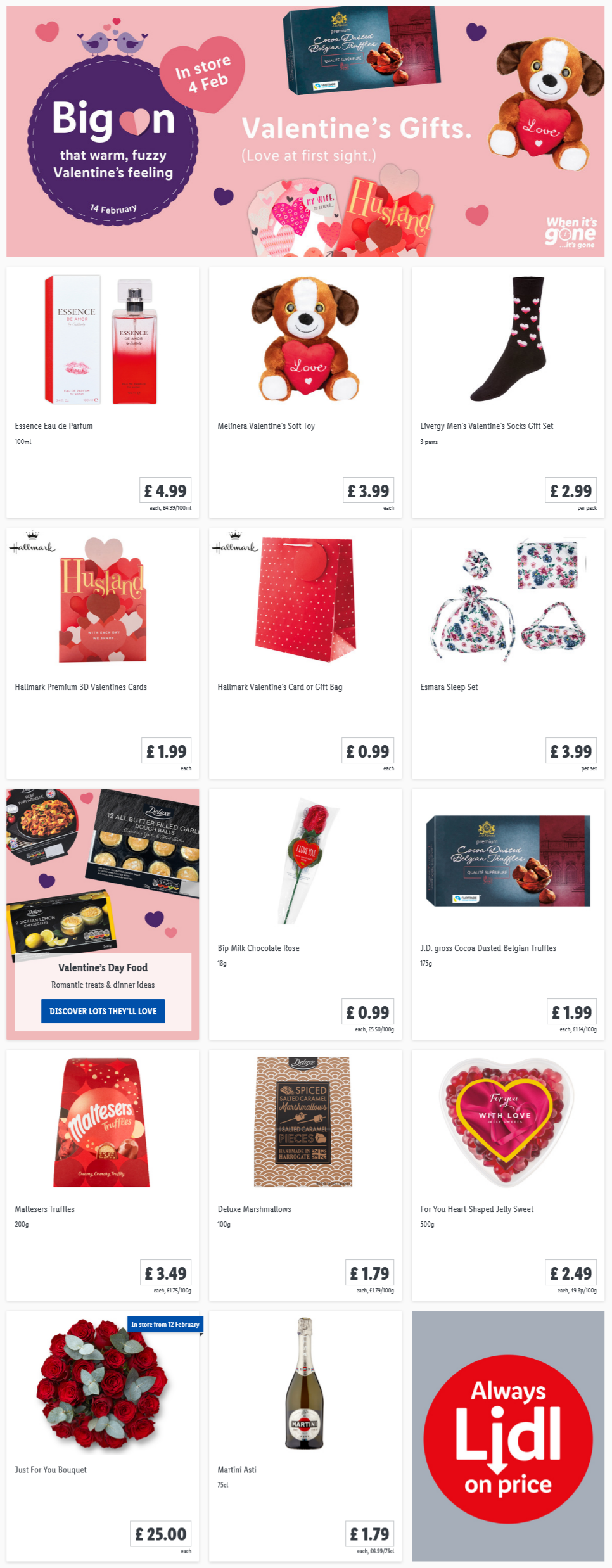 LiDL Valentine's Gifts From 4th February 2021 LIDL Offers this Thursday