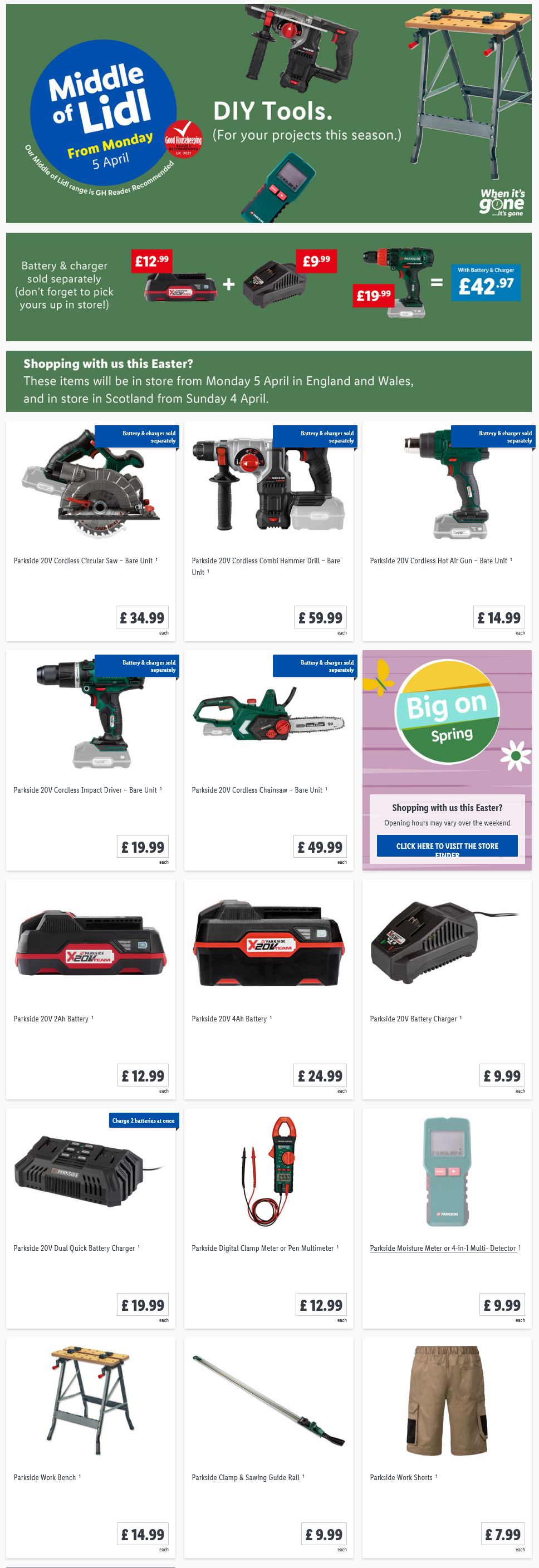 LiDL DIY Tools from 5th April 2021 LiDL Monday Offers