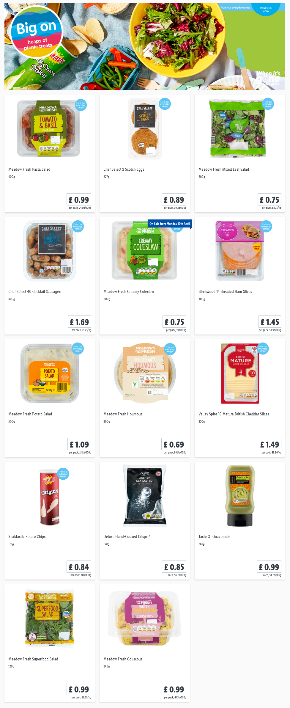 LiDL Picnic From 8th April 2021 LIDL Offers this Thursday