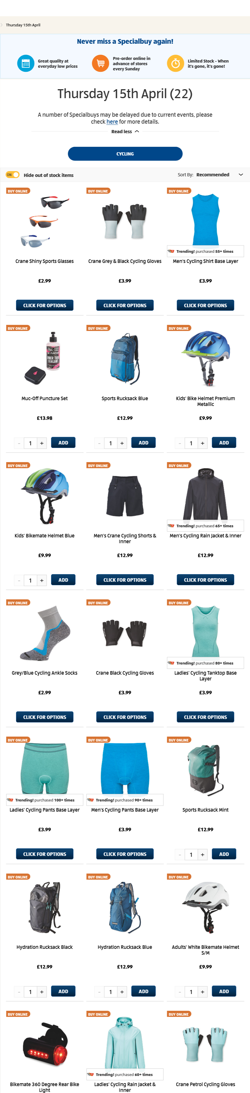 ALDI Cycling from 15th April 2021 ALDI Thursday Offers