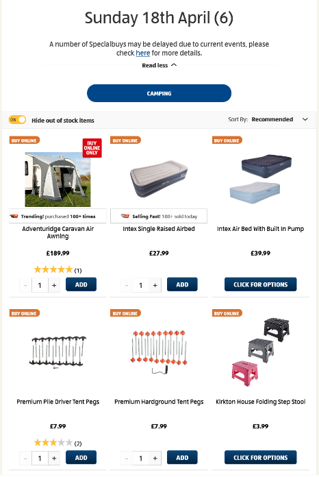 ALDI Camping 18th April 2021 ALDI Sunday Offers