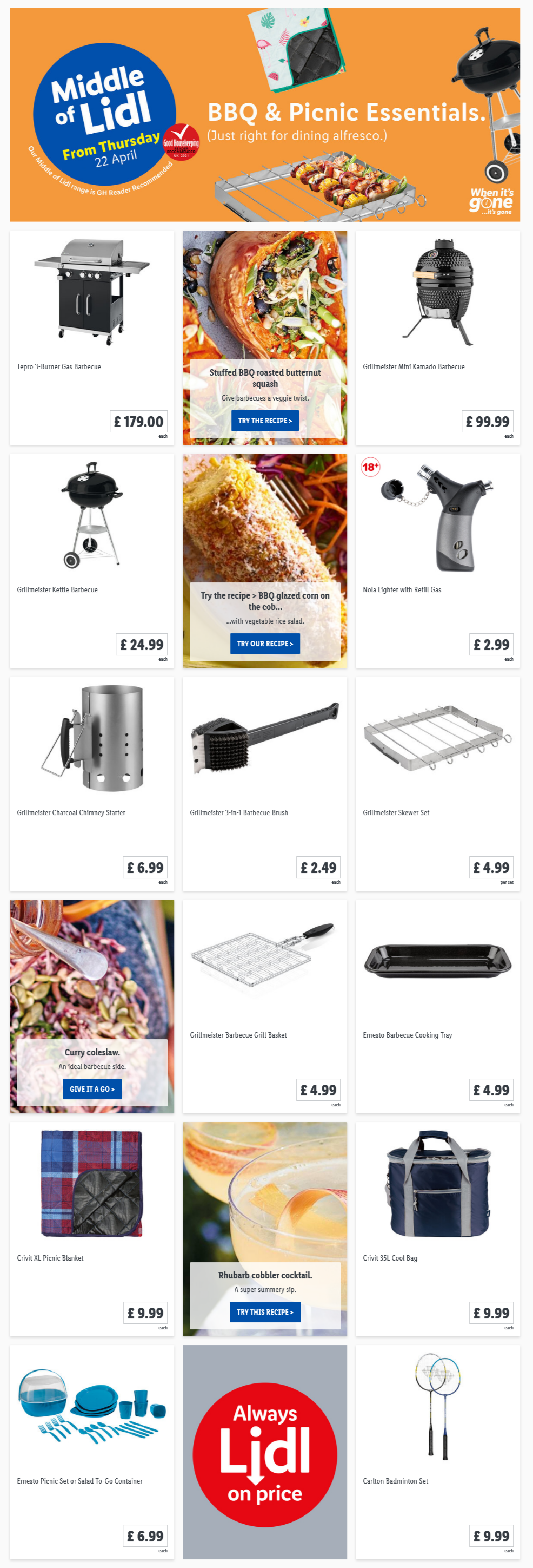 LIDL Offers this Thursday BBQ Picnic Essentials From 22nd April 2021