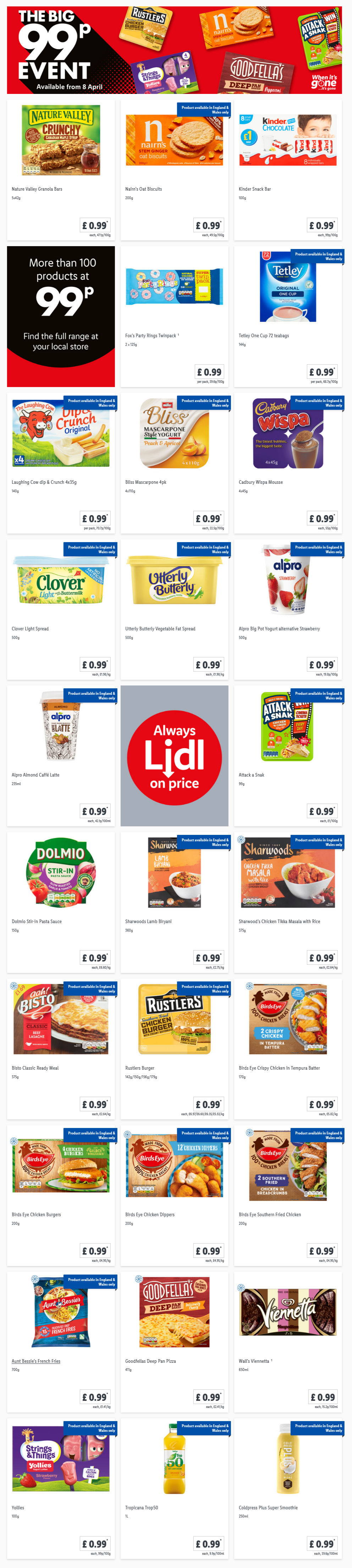 LiDL The Big 99p Event From 8th April 2021 LIDL Offers this Thursday