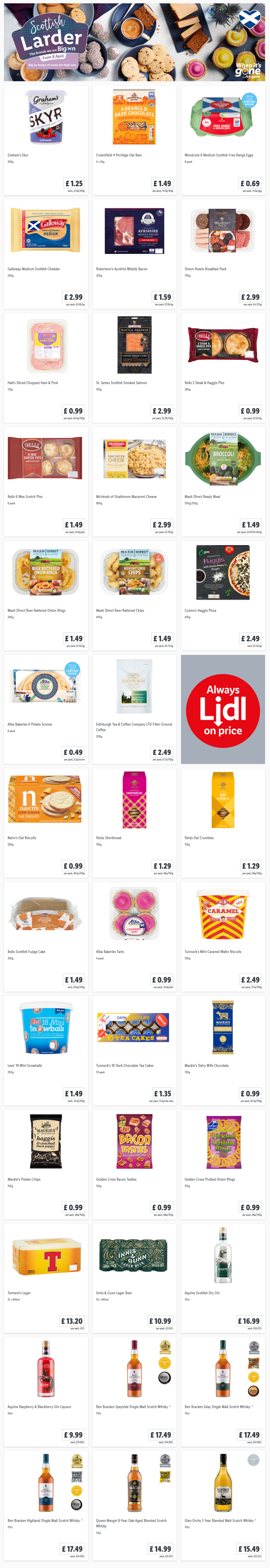 LiDL Scottish Larder From 8th April 2021 LIDL Offers this Thursday (Scotland Only)