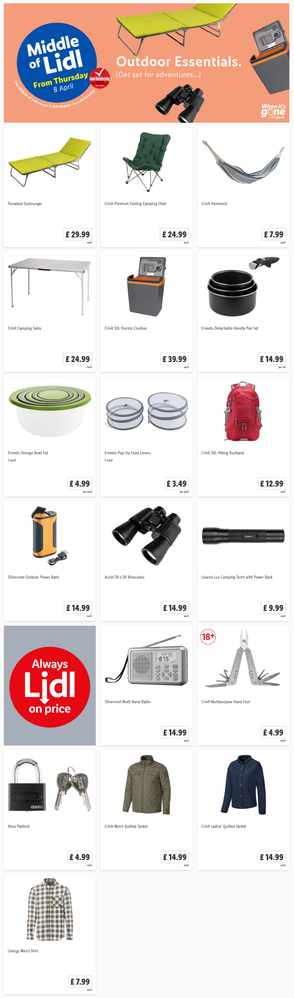LiDL Outdoor Essentials From 8th April 2021 LIDL Offers this Thursday