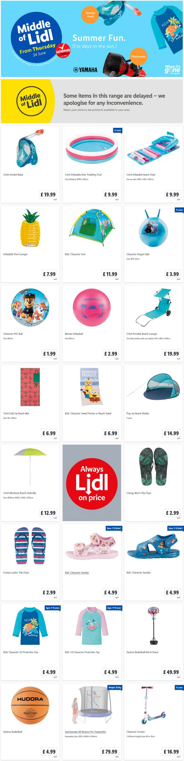 LIDL Offers this Thursday Summer Fun From 24th June 2021