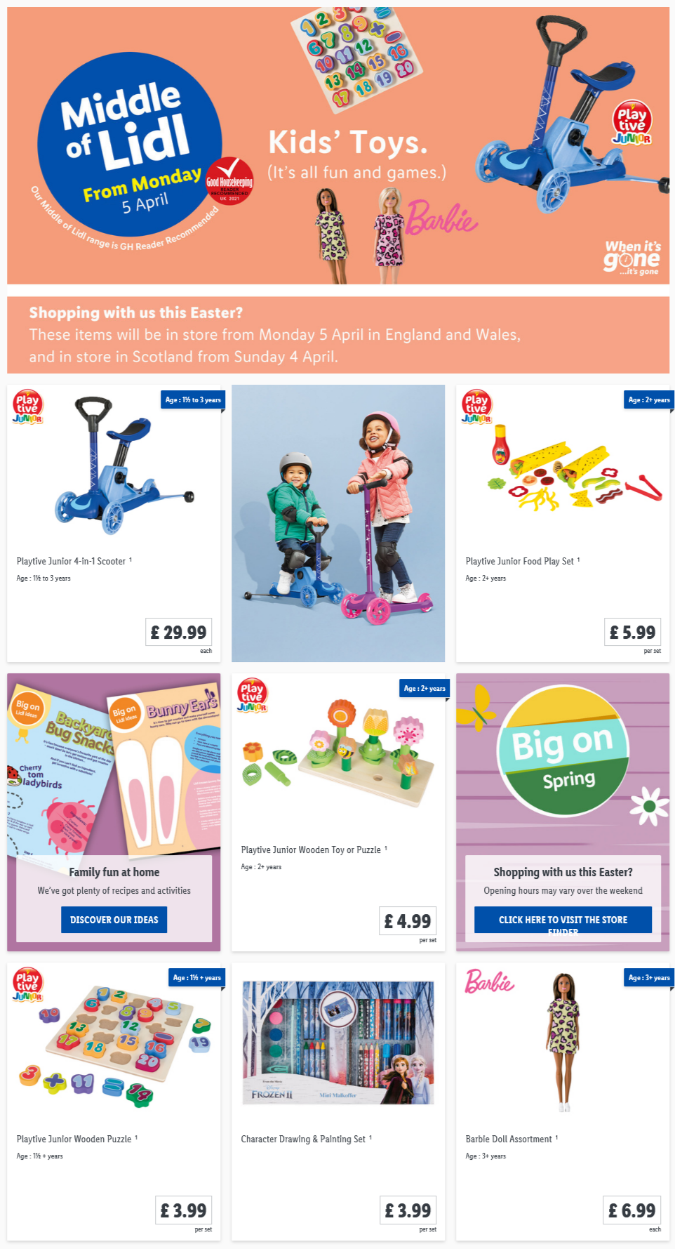 LiDL Kids Toys from 5th April 2021 LiDL Monday Offers