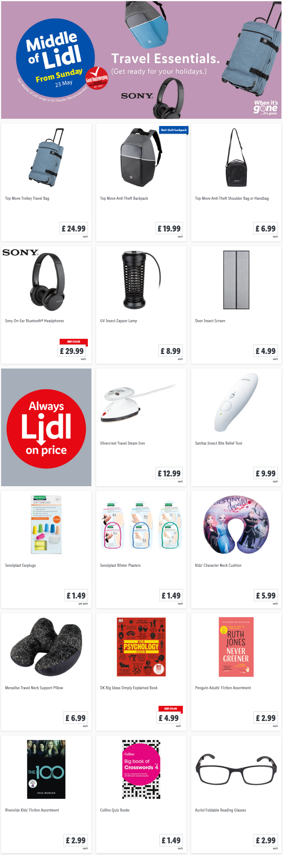 LiDL Travel Essential from 23rd May 2021 LiDL Sunday Offers