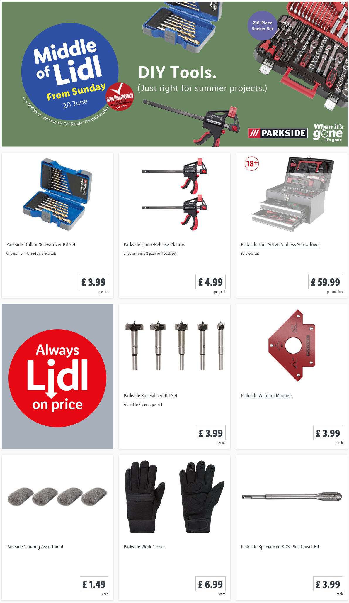 LIDL Sunday Offers DIY Tools from 20th June 2021