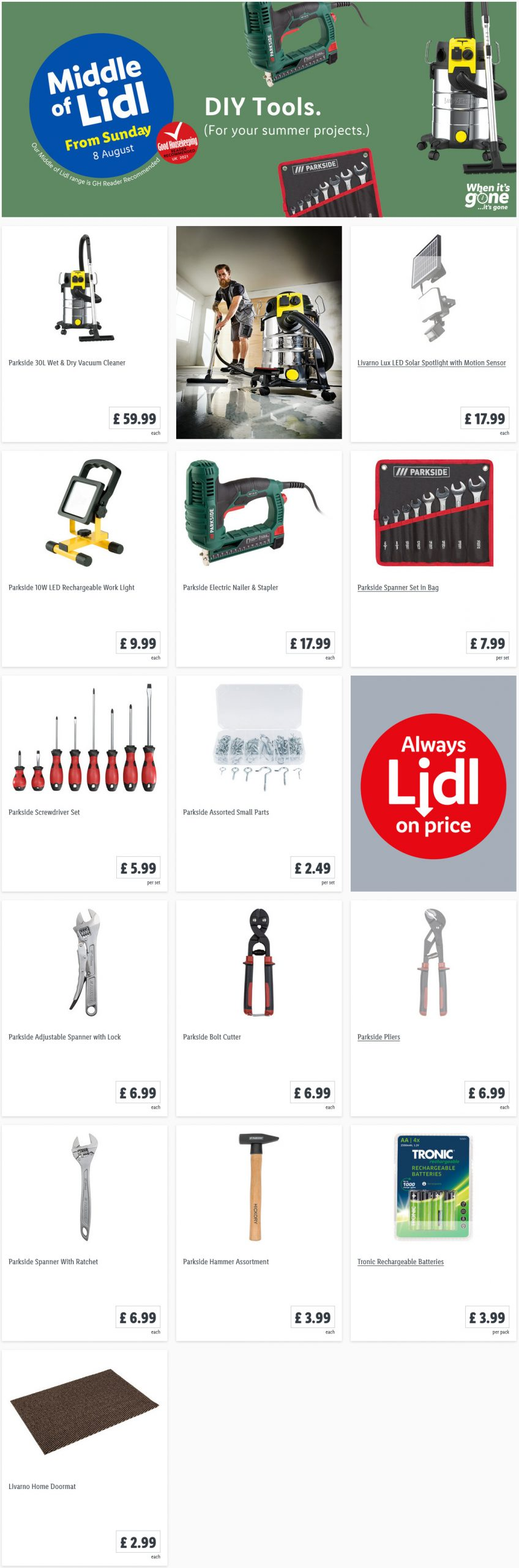 LIDL Sunday Offers DIY Tools from 8th August 2021