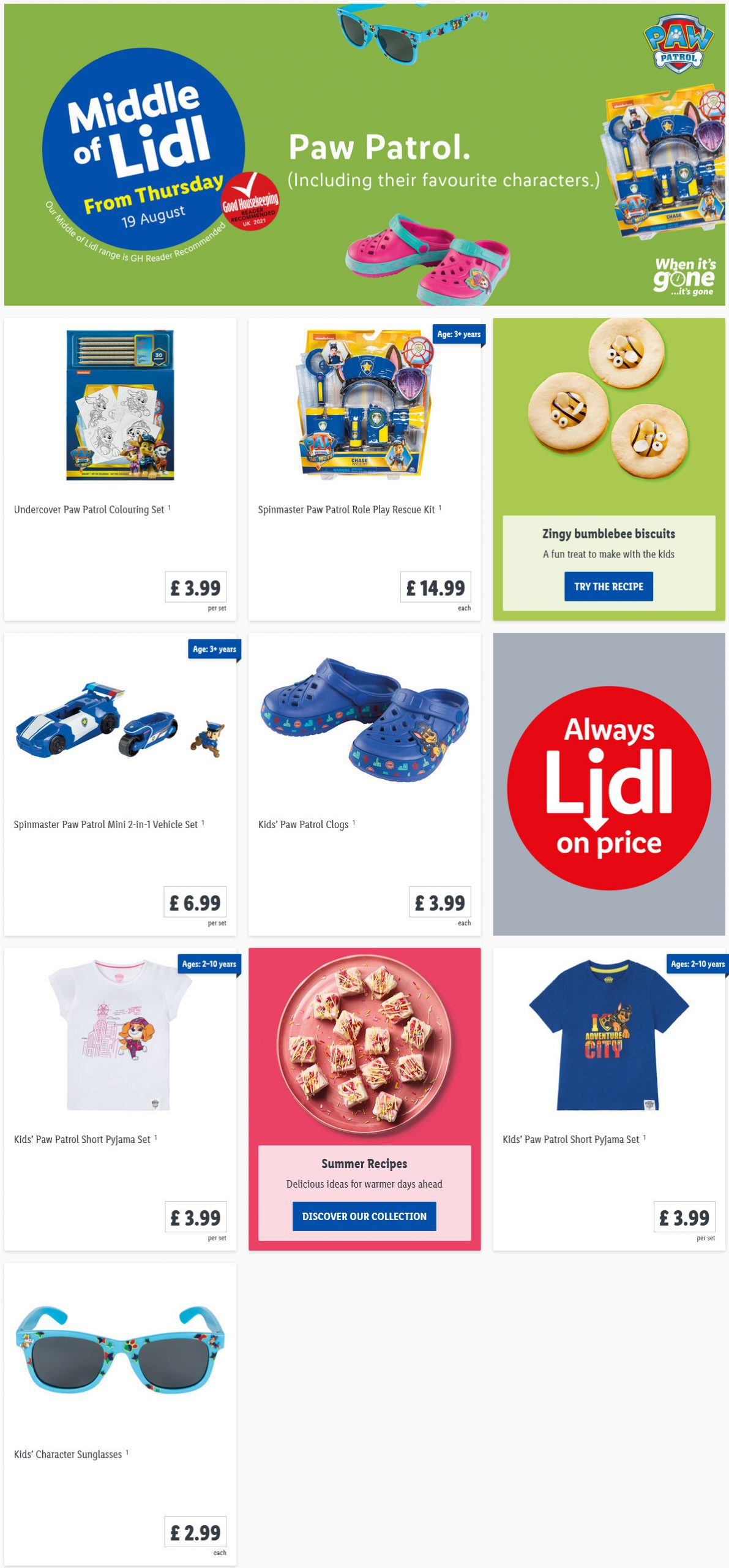 LiDL Paw Patrol From 19th August 2021 LIDL Offers this Thursday