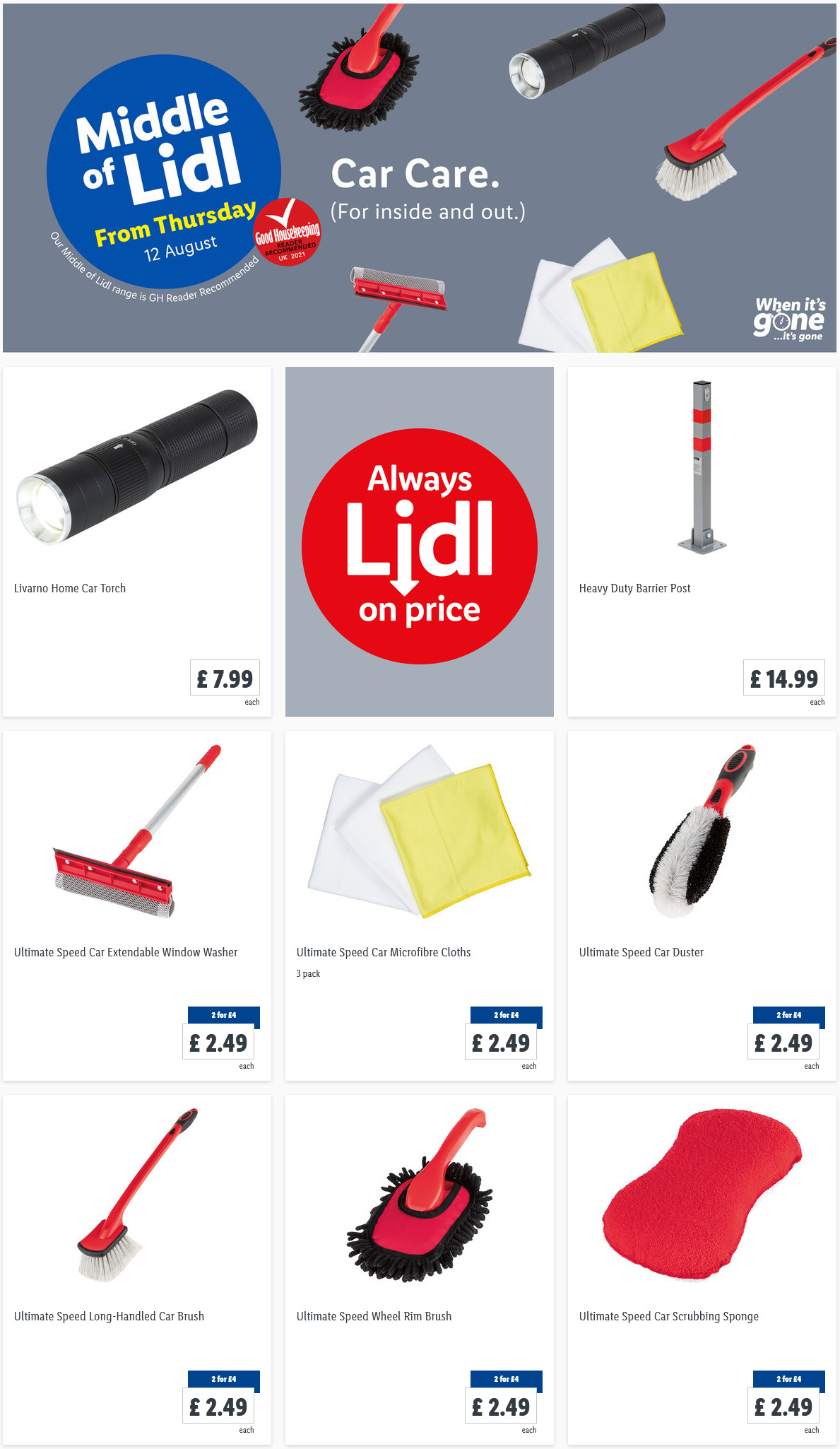 LiDL Car Care From 12th August 2021 LIDL Offers this Thursday