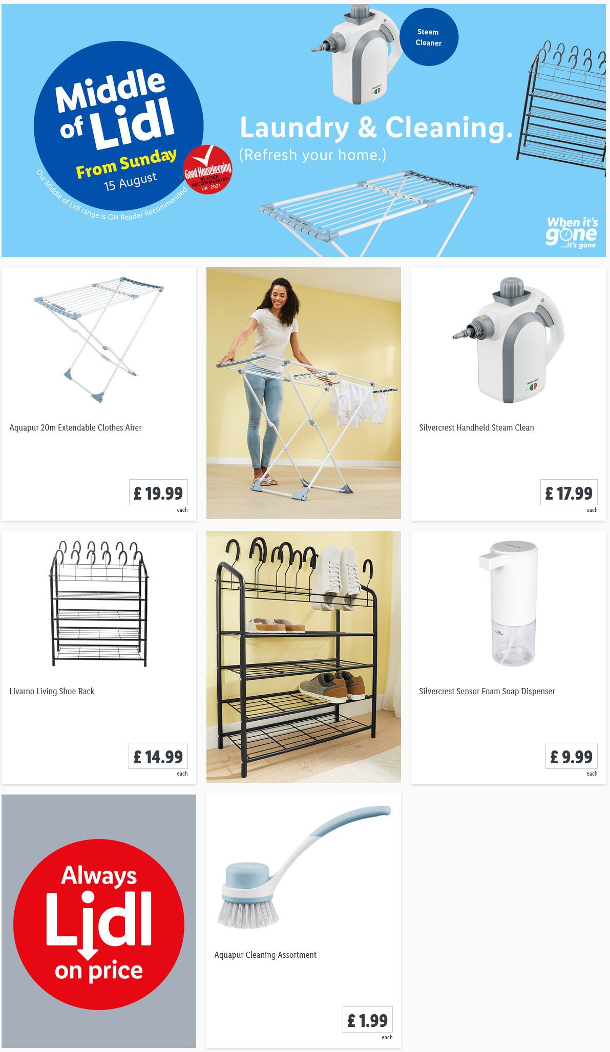 LiDL Laundry & Cleaning from 15th August 2021 LiDL Sunday Offers