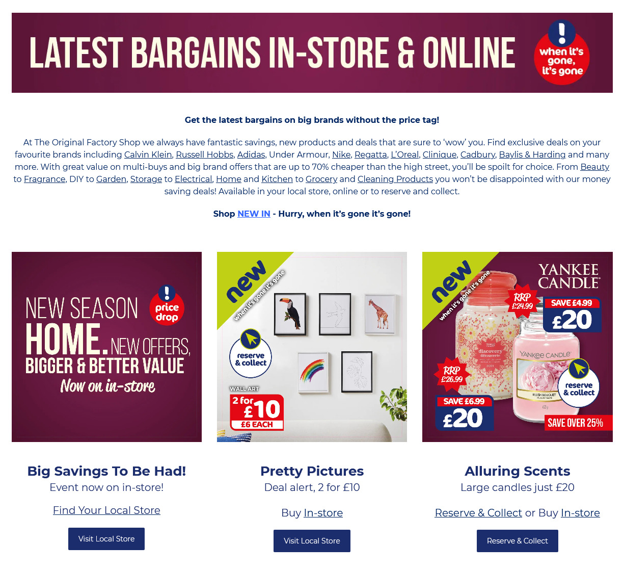 The Original Factory Shop Offers from 3rd October 2021 Latest Deals on Big Brands